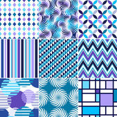 Retro backgrounds set blue and violet seamless patterns geometric fabrics for decoration and design