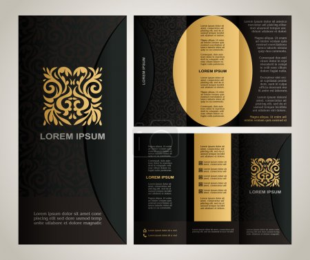 Illustration for Vintage style brochure template design with modern art elements and ornament, pages layouts in color, classic black, yellow, brown colors and creative solutions for design and decoration - Royalty Free Image