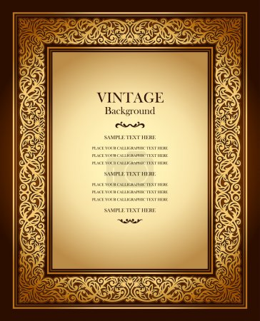 Vintage background, antique ornamental frame, victorian gold ornament