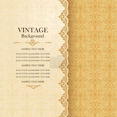 Illustration for Vintage background, antique greeting card, invitation with lace and floral ornaments, beautiful, luxury postcard, old paper, ornate page cover, ornamental pattern template for design - Royalty Free Image