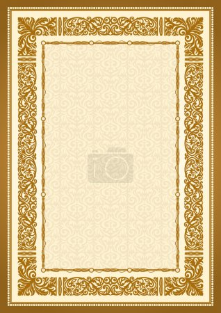 Vintage gold background, antique style frame, victorian ornament