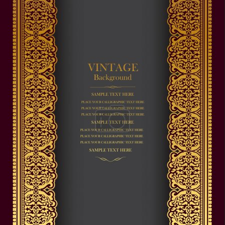 Vintage background design, elegant book cover, victorian style invitation card