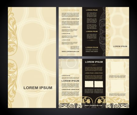 Vintage style brochure template design with modern art elements and ornament