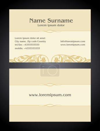 Business Card creative design, vintage, elegant style light print, front and back samples