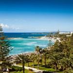 Coast of Cyprus, Mediterranean sea. Beach, palms a...