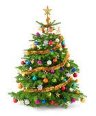 Svěží vánoční strom s barevnými ornamenty