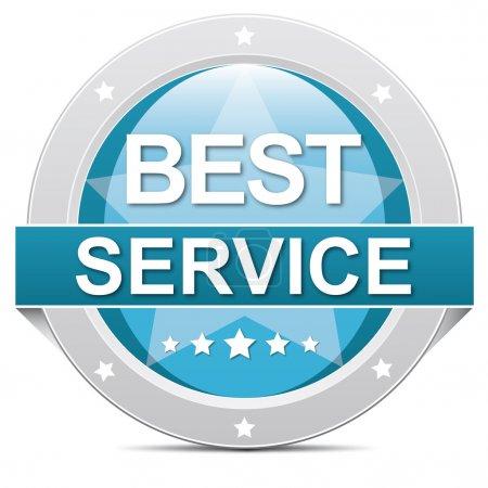 Photo pour Bannière meilleur bleue de bouton service sur blanc - image libre de droit