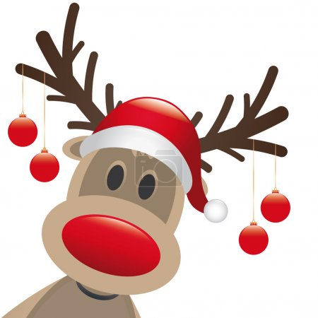 Photo for Rudolph reindeer red nose hang christmas balls - Royalty Free Image