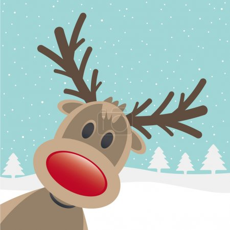Illustration for Rudolph reindeer red nose looking from site - Royalty Free Image