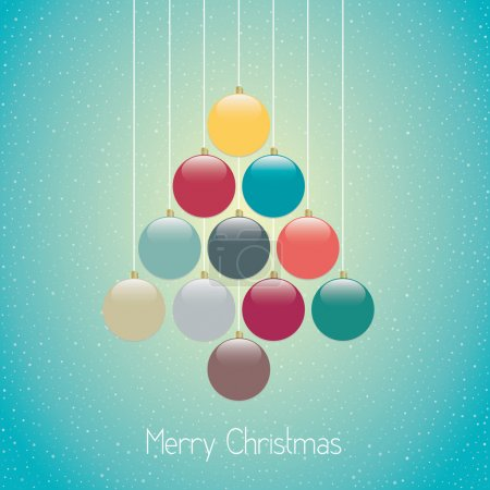 Christmas balls tree hang twine blue background