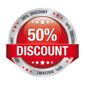 50 discount red silver button