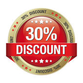 30 discount red gold button isolated background