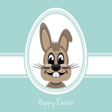 Illustration for Happy easter bunny white egg blue background - Royalty Free Image