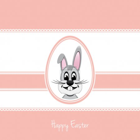 Illustration for Happy easter bunny white egg pink background - Royalty Free Image