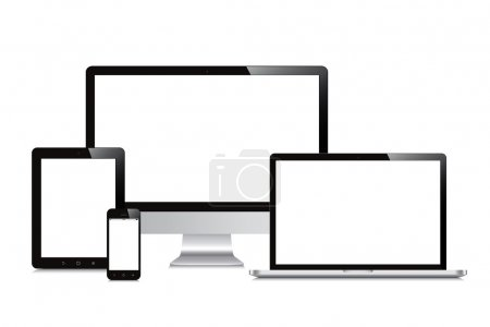 laptop, smartphone, tablet, computer, display isolated mockup wh