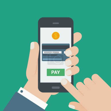 Illustration for Mobile payment credit card hand holding phone flat - Royalty Free Image
