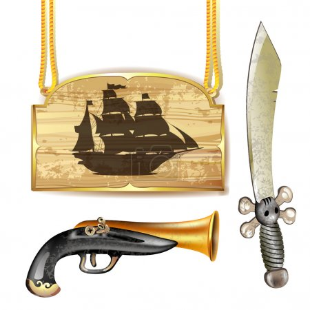 Pirate ship with sword and gun
