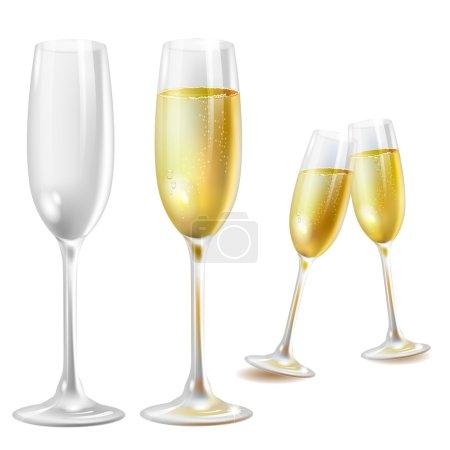 Illustration pour Deux verres à champagne sur fond blanc - image libre de droit