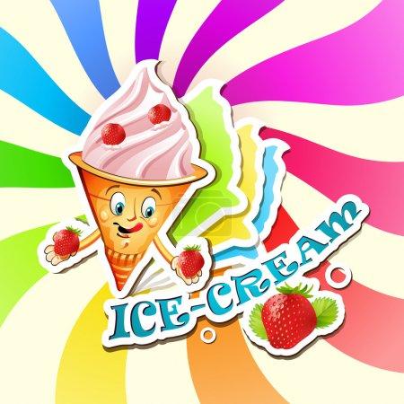 Illustration pour Crème glacée aux fraises dessin animé - image libre de droit