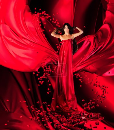 Goddess of love in red dress and hearts