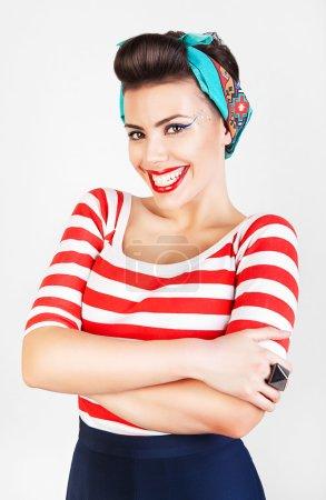 energetic beautiful smiling woman