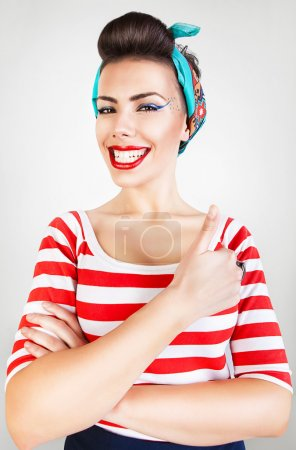 Energetic funny smiling woman
