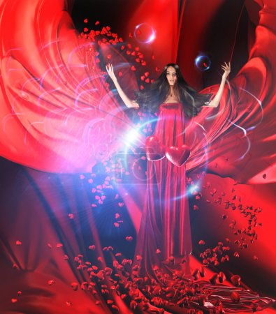 Photo for Goddess of love in long red dress with magnificent hair makes a magic ritual of connecting hearts of on red drapery, fabric - Royalty Free Image