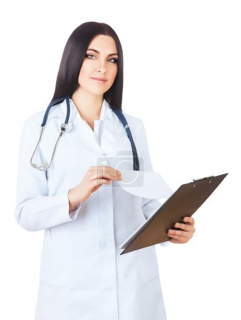 attractive doctor in white coat with folder