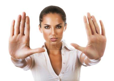 businesswoman says stop