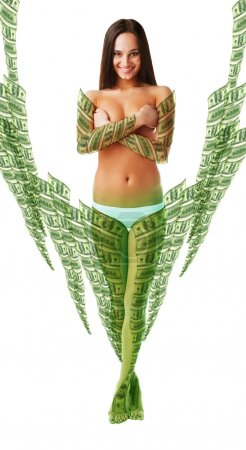 Naked woman in money