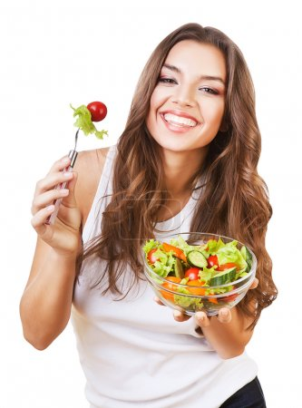 Photo for Healthy lovely woman with salad on white background - Royalty Free Image