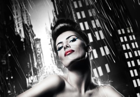 Photo for Attractive brunette woman with red lips in rainy city - Royalty Free Image