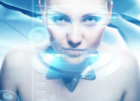 Robot woman with lighting eyes and virtual hologram interfase