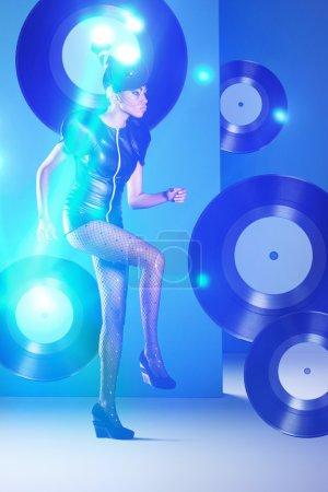 Disco woman dancing