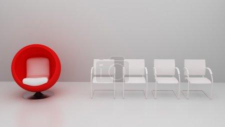 Foto de Silla roja con comodidad especial del resto de la silla - Imagen libre de derechos