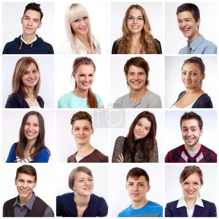 Photo for Portraits of men and women smiling and laughing - Royalty Free Image