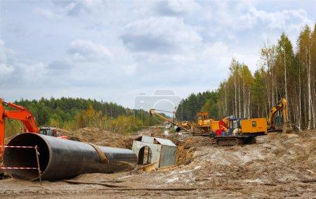 Photo pour Construction du gazoduc - image libre de droit