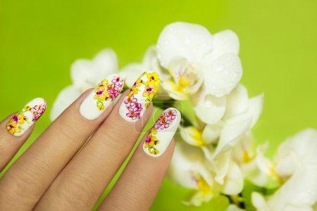 Photo pour Conception de nail art avec photo d'orchidées sur la main d'une femme sur fond vert. - image libre de droit