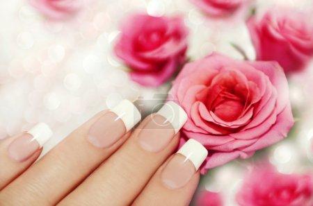 Photo pour Français manucure sur la main d'une femme avec des roses roses sur fond brillant. - image libre de droit