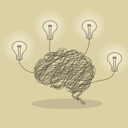 Illustration for Illustration of wire brain and bright lightbulb - Royalty Free Image