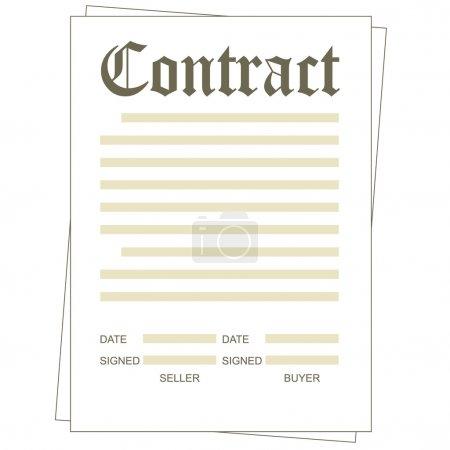 Illustration pour Illustration du formulaire de contrat papier vierge - image libre de droit