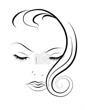 Illustration for Sketch portrait of younger women with their eyes closed - Royalty Free Image
