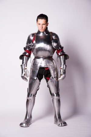 Medieval knight in metal armor...