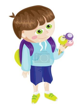 Cartoon school boy with icecream