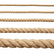 Collection of various ropes on white background. each one is shot separately