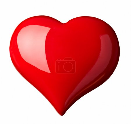 Photo for Close up red heart shape symbol on white background with clipping path - Royalty Free Image