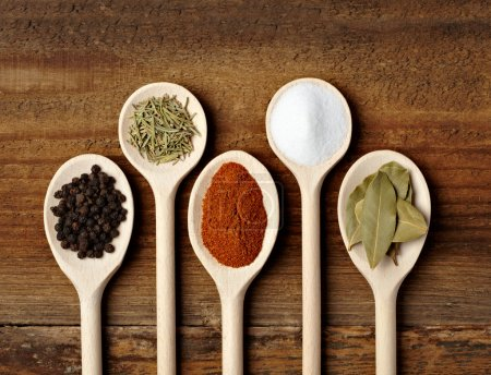 Photo for Collection of various food ingredients in wooden spoons - Royalty Free Image