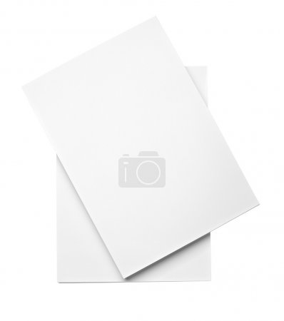 Photo for Close up of stack of papers on white background - Royalty Free Image