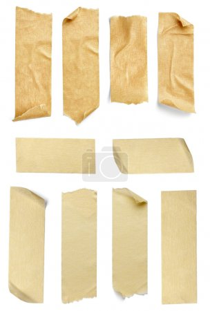 Photo for Collection of various adhesive tape pieces on white background. each one is shot separately - Royalty Free Image