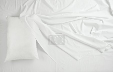 Photo for Close up of bedding sheets and pillow - Royalty Free Image